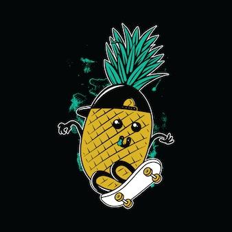 Progettazione grafica della maglietta di arte di vettore dell'illustrazione di skateboarding dell'ananas