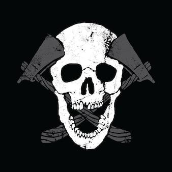 Progettazione grafica della maglietta di arte di vettore dell'illustrazione grafica degli assi del cranio