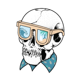 Progettazione grafica della maglietta di arte di vettore dell'illustrazione grafica del cranio