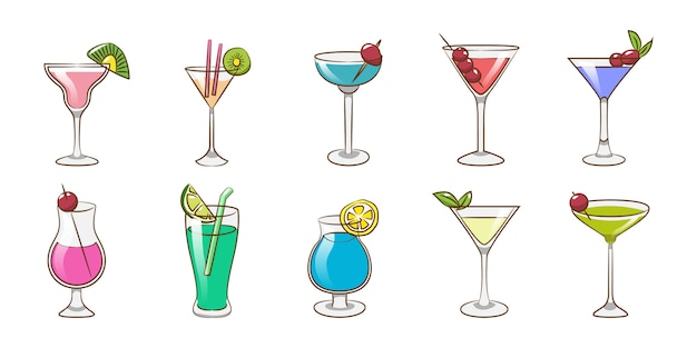 Progettazione grafica di clipart della raccolta stabilita del cocktail