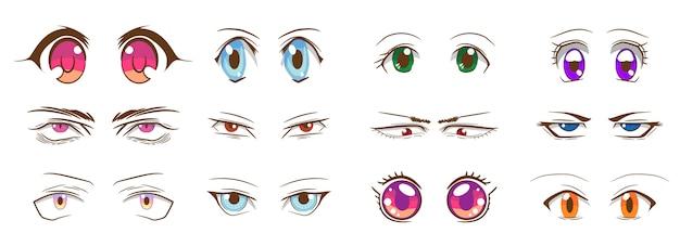 Progettazione grafica di clipart della raccolta stabilita di vettore degli occhi del fumetto