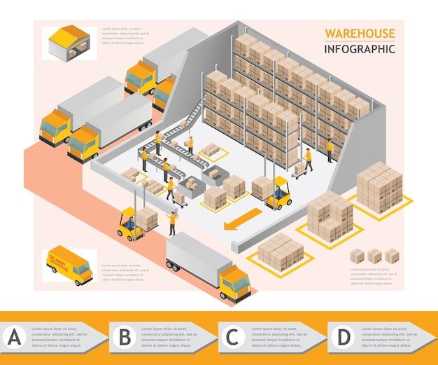 Progettazione grafica di vettore del magazzino di informazioni isometriche