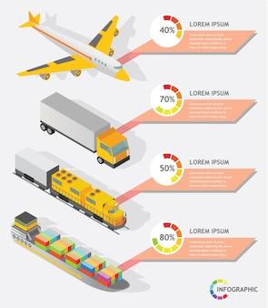 Progettazione grafica di vettore di trasporto del trasportatore grafico di informazioni isometriche