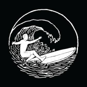 Progettazione grafica praticante il surfing della maglietta di arte di vettore dell'illustrazione della spiaggia di estate