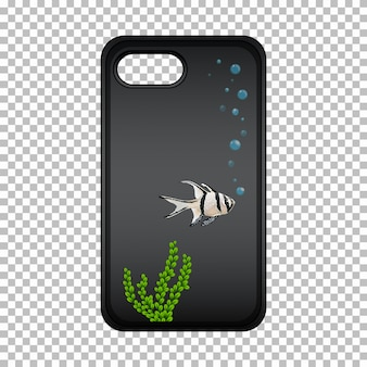 Progettazione grafica su custodia per cellulare con simpatico pesce