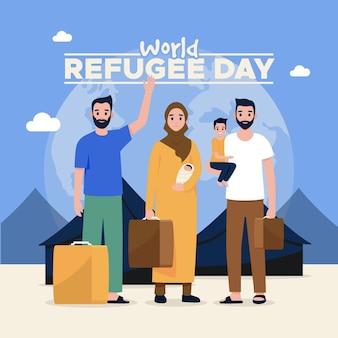 Progettazione illustrata della giornata mondiale del rifugiato