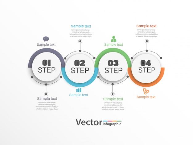 Progettazione infografica con 4 opzioni, passaggi o processi.