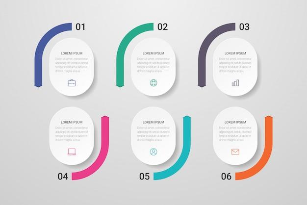 Progettazione infografica con icone e sei opzioni o passaggi