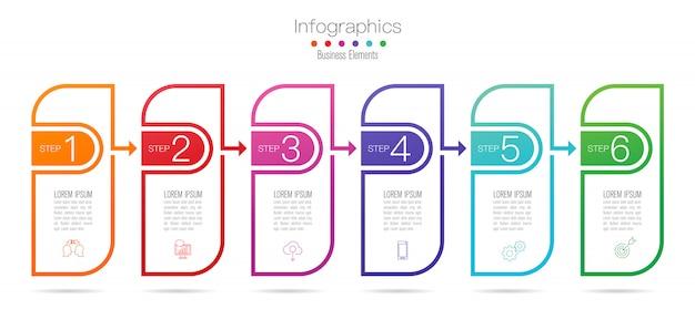 Progettazione infografica con passaggi o opzioni.