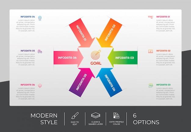 Progettazione infografica della freccia del flusso di lavoro con 6 opzioni e design moderno. l'opzione infografica può essere utilizzata per presentazioni, relazioni annuali e scopi commerciali.