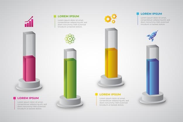 Progettazione infografica di barre 3d