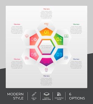 Progettazione infografica esagonale del flusso di lavoro con 6 opzioni e design moderno. l'opzione infografica può essere utilizzata per presentazioni, relazioni annuali e scopi commerciali.