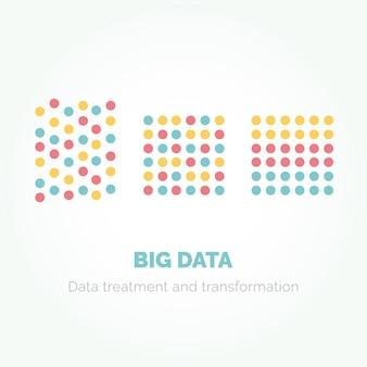 Progettazione infografica minimalista di big data