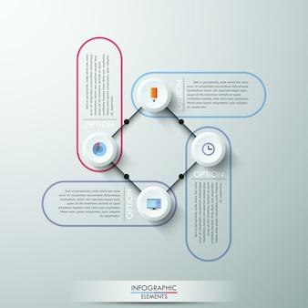 Progettazione infografica numerata di cerchi