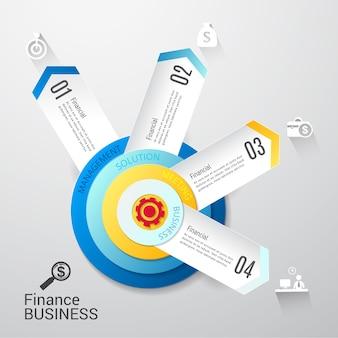Progettazione infographic di opzioni del modello 4 di affari moderni.