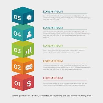 Progettazione infographic di strati a blocchi 3d