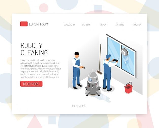 Progettazione isometrica del sito web di concetto di servizio di pulizia di aspirapolveri di nuova generazione con l'illustrazione di vettore del dispositivo di lavaggio della finestra di navigazione