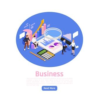 Progettazione isometrica della pagina della gestione di impresa con l'illustrazione di simboli di