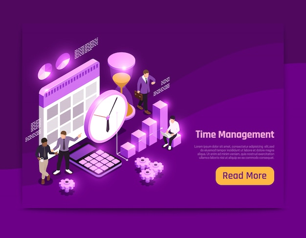 Progettazione isometrica della pagina di affari con l'illustrazione di simboli della gestione di tempo