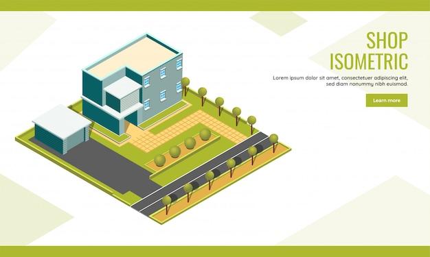 Progettazione isometrica della pagina di atterraggio basata su concetto del negozio con la costruzione di paesaggio urbano e il fondo dell'iarda del giardino.