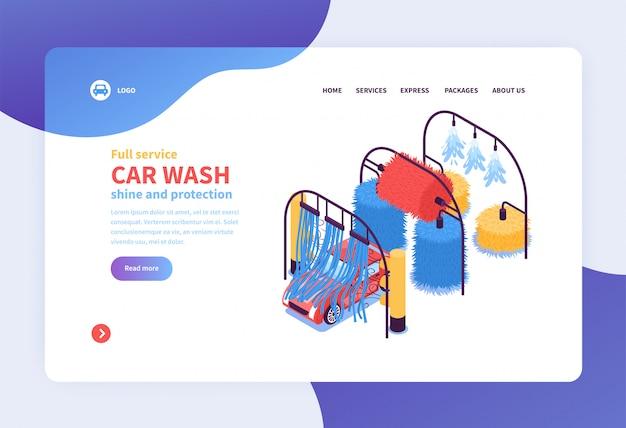 Progettazione isometrica della pagina web della pagina web di atterraggio di concetto di servizi di lavaggio dell'automobile