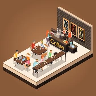 Progettazione isometrica di vettore della caffetteria di infographic