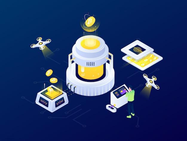 Progettazione isometrica futuristica dell'illustrazione di vettore di estrazione mineraria di blockchain bitcoin di criptovaluta