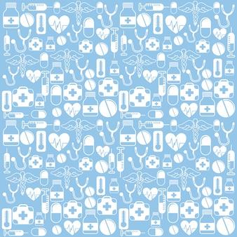 Progettazione medica sopra l'illustrazione blu di vettore del fondo