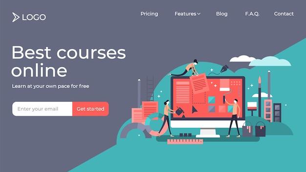 Progettazione minuscola del modello della pagina di atterraggio dell'illustrazione di vettore delle persone di web design.