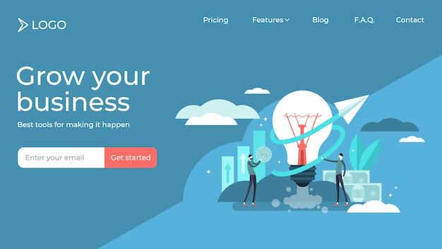 Progettazione minuscola piana del modello della pagina di atterraggio dell'illustrazione di vettore delle persone di idea di affari