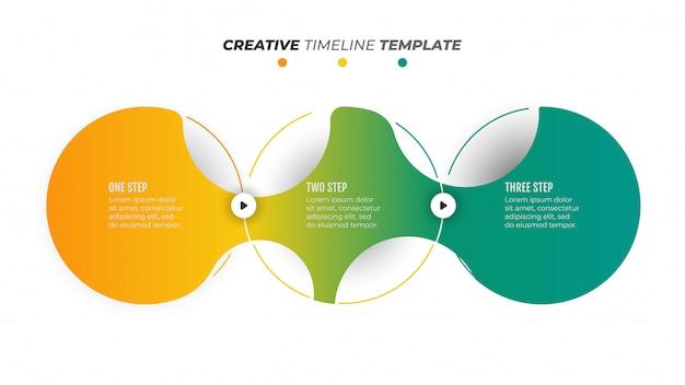 Progettazione moderna dell'elemento di infographics di cronologia con i cerchi. concetto di business con 3 opzioni di numero, passaggi o processi.