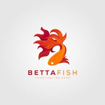 Progettazione moderna dell'illustrazione di logo del fuoco del pesce di betta
