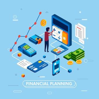 Progettazione moderna di risparmio dei soldi e pianificazione finanziaria facendo uso dello smartphone con il portafoglio, grafico, soldi, illustrazione del calcolatore della carta