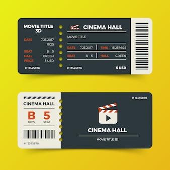 Progettazione moderna di vettore dei biglietti di film del cinema