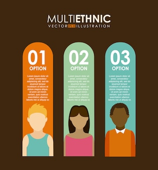 Progettazione multietnica sopra l'illustrazione marrone di vettore del fondo