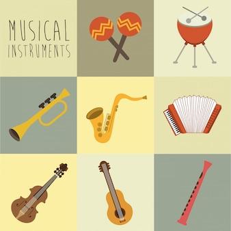 Progettazione musicale sopra illustrazione vettoriale sfondo bianco