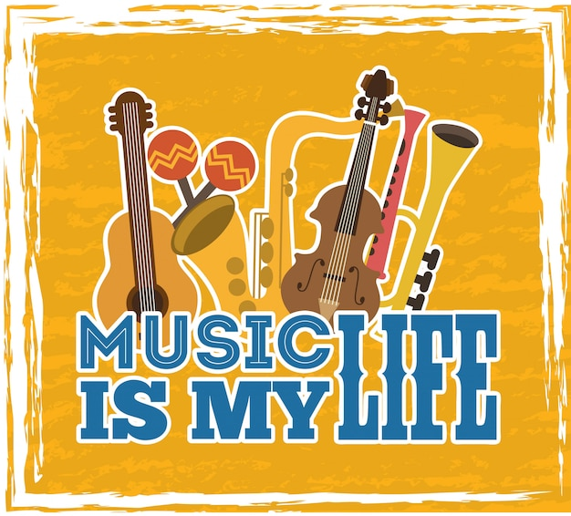Progettazione musicale su sfondo giallo illustrazione vettoriale