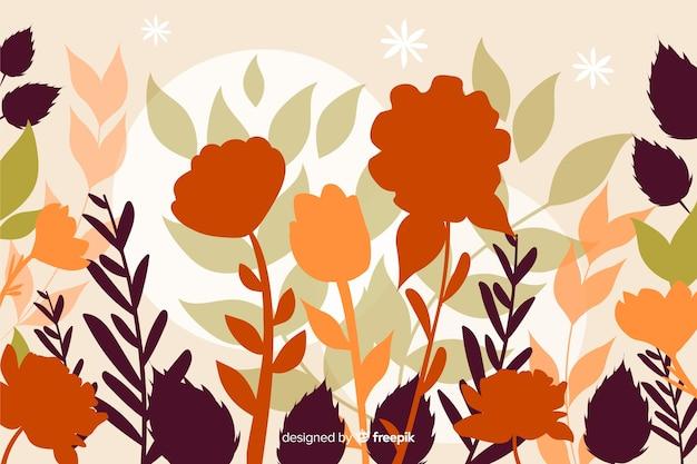 Progettazione piana del fondo floreale delle siluette