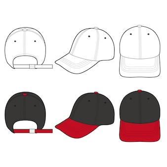 Progettazione piana del modello dell'illustrazione di vettore di modo del berretto da baseball