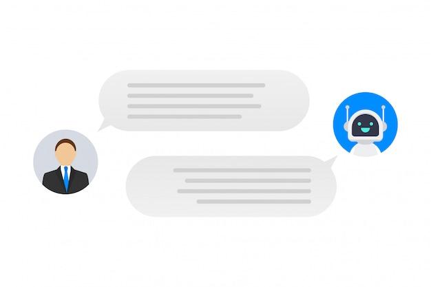 Progettazione piana dell'icona dell'illustrazione del personaggio dei cartoni animati di stile moderno. concetto di robot bot di chat. illustrazione di riserva.