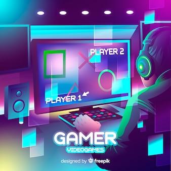 Progettazione piana dell'illustrazione al neon del giocatore