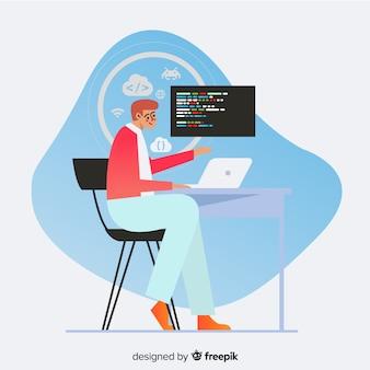 Progettazione piana dell'illustrazione decorativa del programmatore