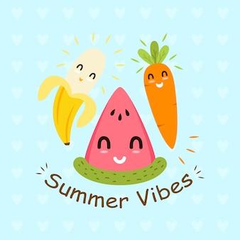 Progettazione piana dell'illustrazione dell'emoticon di vibrazioni di estate della frutta
