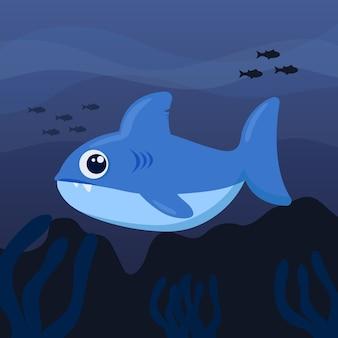 Progettazione piana dell'illustrazione dello squalo di bambino di progettazione