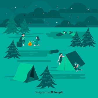 Progettazione piana dell'illustrazione di campeggio della gente