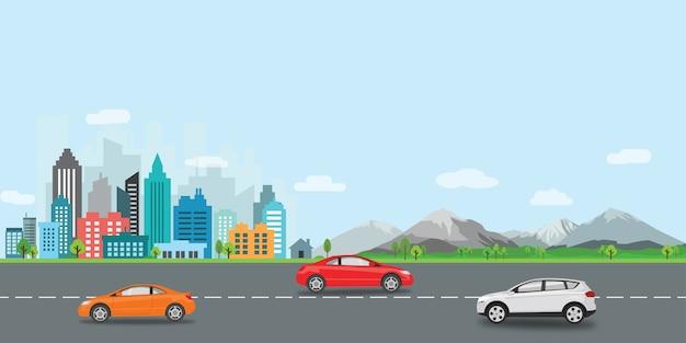 Progettazione piana dell'illustrazione di vettore della città di paesaggio