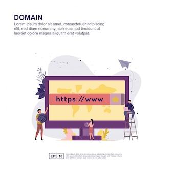 Progettazione piana dell'illustrazione di vettore di concetto di dominio.