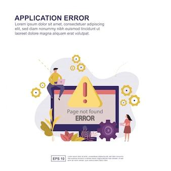 Progettazione piana dell'illustrazione di vettore di concetto di errore dell'applicazione.