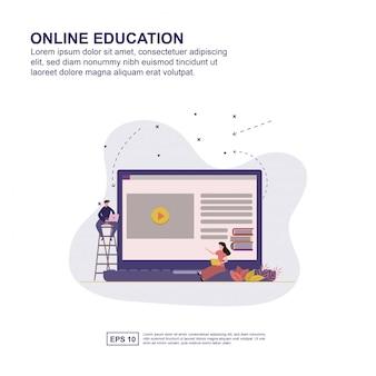 Progettazione piana dell'illustrazione di vettore di concetto di istruzione online per la presentazione.