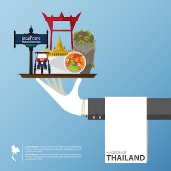Progettazione piana delle icone dei punti di riferimento della tailandia.